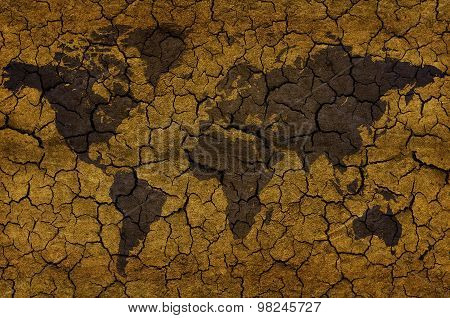World Map On Cracked Beige Background