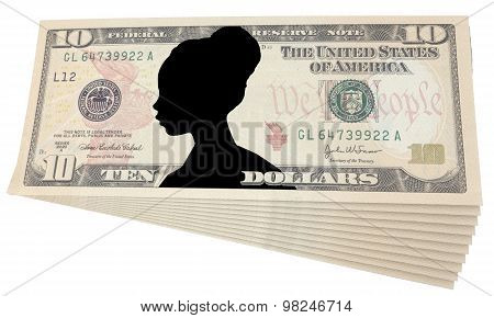 Ten Dollars With The Image Of A Woman