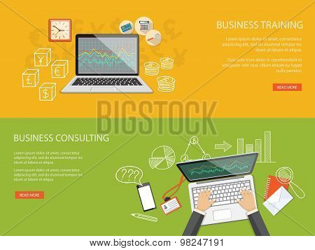Set Of Content For Website Of  Business Training And Consulting