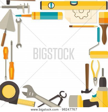 Vector flat design background with do-it-yourself tools