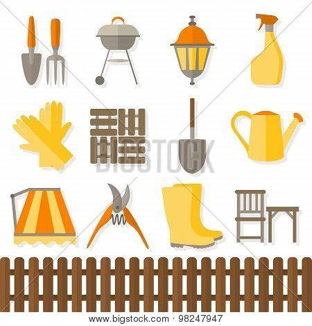 Flat design set of gardening tool icons