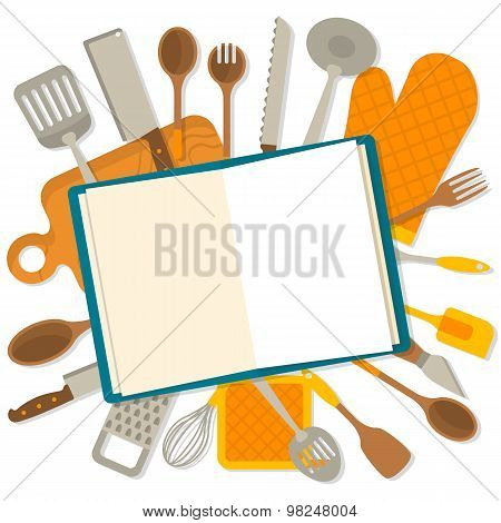 Flat design banner of kitchenware isolated