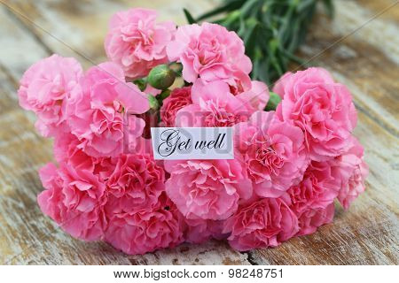 Get well card with pink carnations