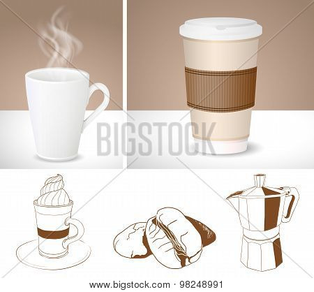 Realistic Coffee Cups And Outlines Of Coffee Maker, Latte And Coffee Beans