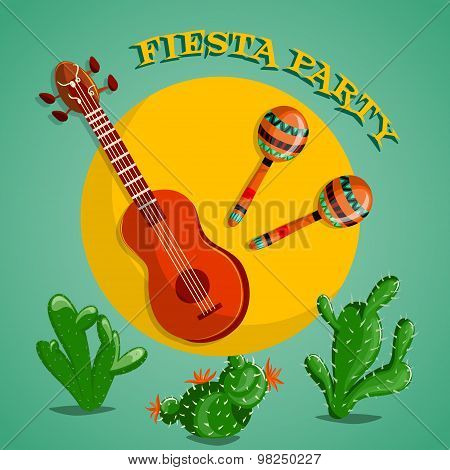 Mexican Fiesta Party poster with maracas, mexican guitar and cactuses. Flyer or greeting card templa