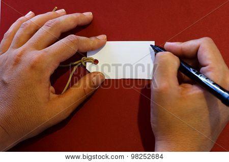 Hand Writting Label Closeup