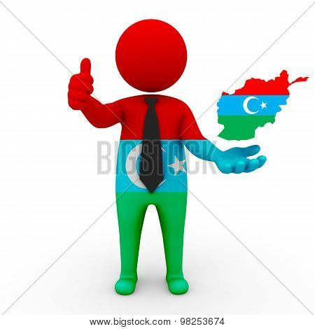 3d small people Turks in Afghanistan-Turks Afghan flag and map of Afghanistan - Afghan Turks