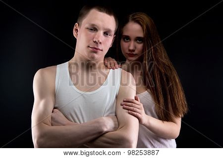 Photo of boy and helpless girl