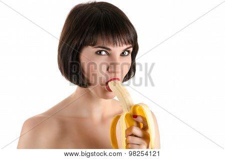 fashion sexy woman eating banana