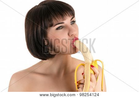 beautiful sexy woman eating banana