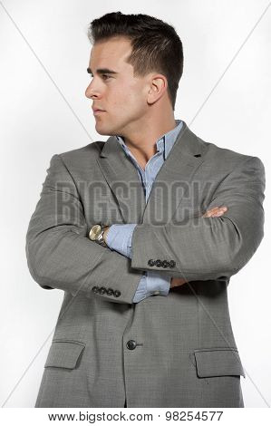 Athletic White Male Model in Suit