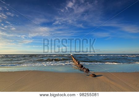Baltic Sea And The Breakwater At Dusk
