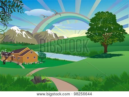 Landscape - Farm By The River At Dawn After Rain [