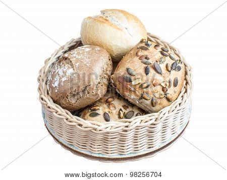 basket with bread rolls isolated