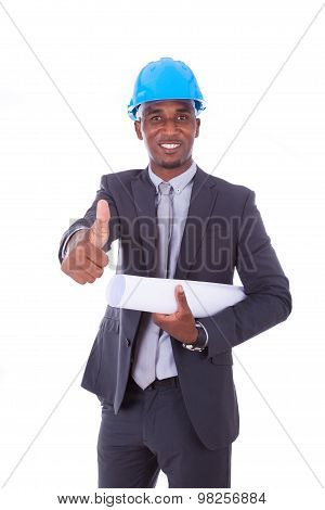 African American Architect  Making Thumbs Up Isolated On White Background - Black People