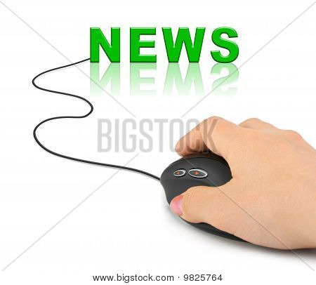 Hand With Computer Mouse And Word News