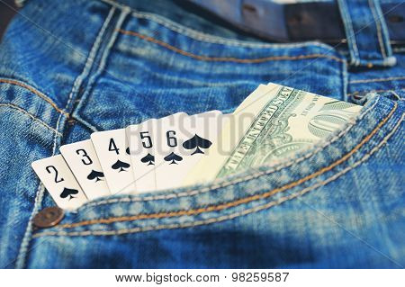 Play Card Straight Flush And Money In  Jean Pocket Toned