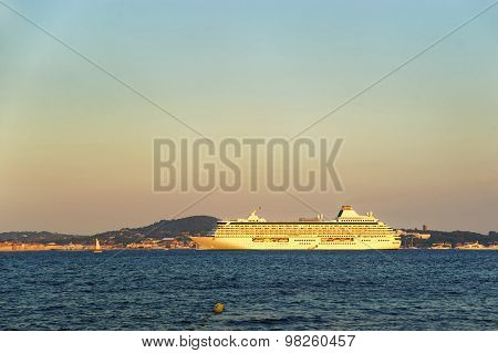 Cruise Liner In Saint Tropez Harbor