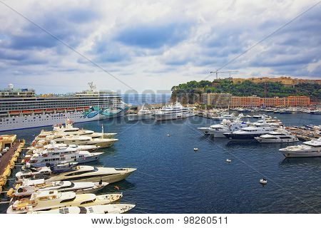Port Hercule Marina, Luxury Ships And Cruise Liner And Palace On The Mountain