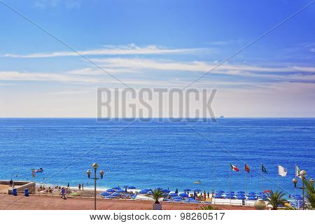 Promenade D Anglais (english Promenade) And Beach In Nice, France
