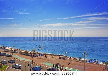Promenade D Anglais (english Promenade) In Nice, France. Bay View.