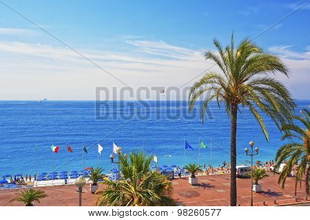 Promenade D Anglais (english Promenade) In Nice, France. Bay View