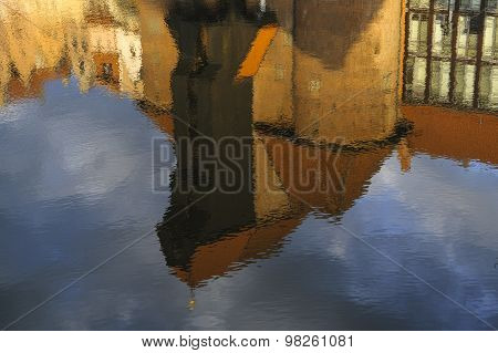 The Gdansk's famous crane in a reflection in the water ** Note: Visible grain at 100%, best at smaller sizes