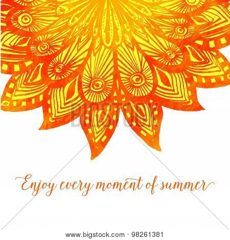 Template with orange doodle fire flower. Tribal design with phrase enjoy every moment of summer