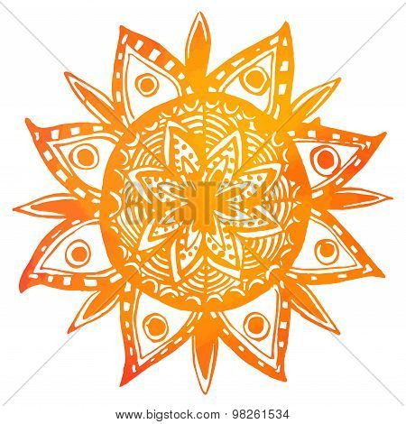 Hand drawn orange watercolor tribal sun. Vector indian mandala
