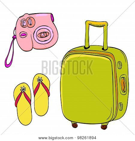 Set of travel illustrations: pink small camera, yellow slippers and green trolley bag. Hand drawn do