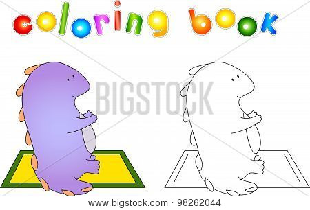 Crummy Bellied Dragon Doing Exercises. Coloring Book About Healthy Lifestyle For Children