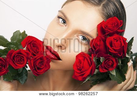 beauty and red flowers