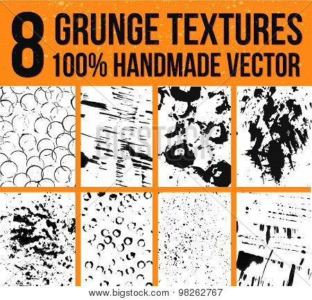 Collection of 8 vector ink textures. Backgrounds for real artistic and handmade look. Grunge and mes