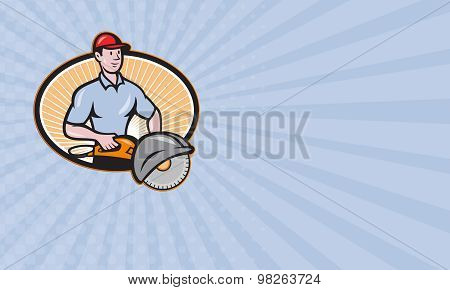 Business Card Construction Worker Concrete Saw Consaw Cartoon