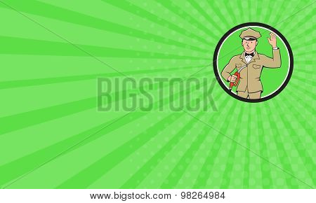 Business Card Gas Jockey Attendant Waving Circle Cartoon