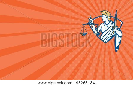 Business Card Lady Blindfolded Holding Scales Justice Sword