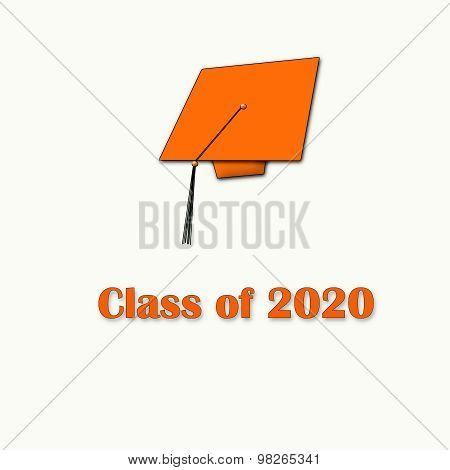 Class of 2020 Orange on White Single White