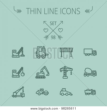 Construction thin line icon set for web and mobile. Set includes- forklift, road roller, cranes, dump truck, road barrier, delivery truck, mixer. Modern minimalistic flat design. Vector dark grey icon