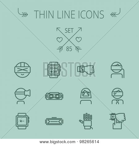 Technology thin line icon set for web and mobile. Set includes- smartwatch, virtual reality headset, wristwatch, robot hand icons. Modern minimalistic flat design. Vector dark grey icon on grey