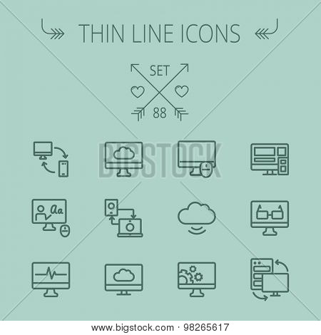 Technology thin line icon set for web and mobile. Set includes - monitors transferring data, cloud, mouse, wifi, gear, speaker. Modern minimalistic flat design. Vector dark grey icon on grey