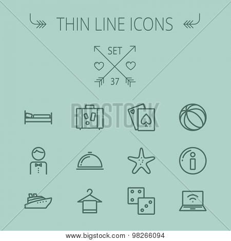 Travel thin line icon set for web and mobile. Set includes- beach ball, waiter, starfish, towel, dice, bed, luggage, laptop, wifi, card, food icons. Modern minimalistic flat design. Vector dark grey