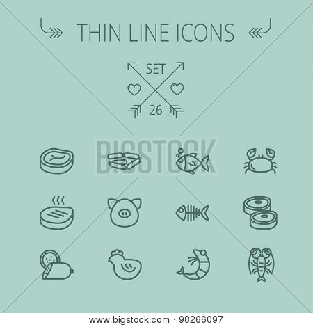 Food and drink thin line icon set for web and mobile. Set includes- steak, sausages, fish, crab, shrimp, lobster icons. Modern minimalistic flat design. Vector dark grey icon on grey background.