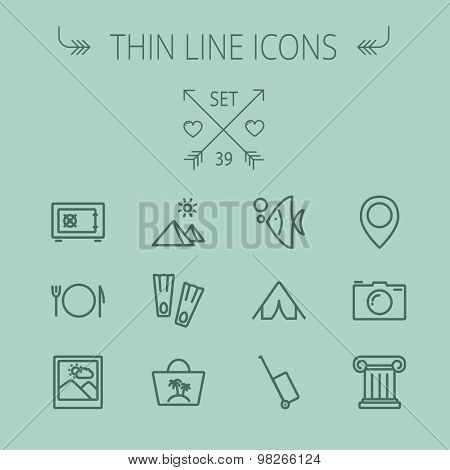 Travel thin line icon set for web and mobile. Set includes- camera, picture freame, pin location, floppers, fish, bag, table setting, tent, luggage cart, icons. Modern minimalistic flat design. Vector