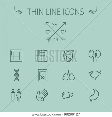 Medicine thin line icon set for web and mobile. Set includes- human internal organs, hospital, DNA icons. Modern minimalistic flat design. Vector dark grey icon on grey background.