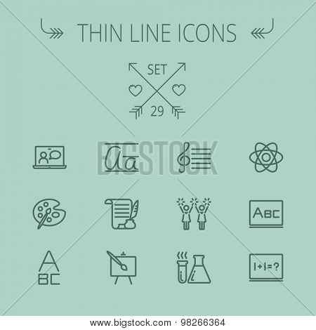 Education thin line icon set for web and mobile. Set includes- alphabet, music note, paint, cheering, math, painting atom icons. Modern minimalistic flat design. Vector dark grey icon on grey