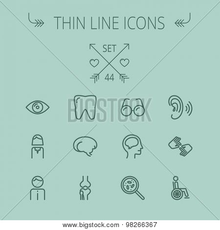 Medicine thin line icon set for web and mobile. Set includes- tooth, eye, ear, hands, bone, brain, human icons. Modern minimalistic flat design. Vector dark grey icon on grey background.