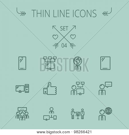 Technology thin line icon set for web and mobile. Set includes - Mobile phone, gadget, computer, CPU, global thumbs up, presentation. Modern minimalistic flat design. Vector dark grey icon on grey