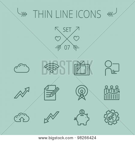 Business thin line icon set for web and mobile. Set includes- wifi, notepad, cloud arrows, antenna, money, gear piggy bank icons. Modern minimalistic flat design. Vector dark grey icon on grey