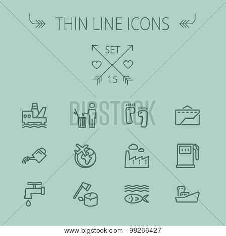 Ecology thin line icon set for web and mobile. Set includes-gasoline pump, fish, ship, garbage bin,watering can, faucet, global icons. Modern minimalistic flat design. Vector dark grey icon on grey