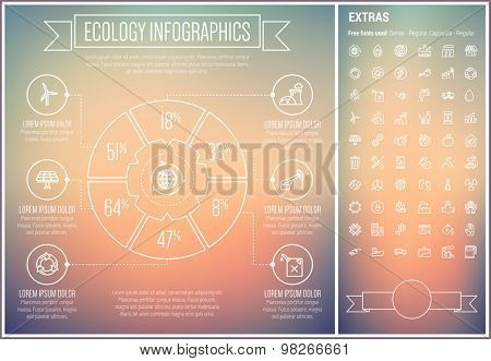 Ecology infographic template and elements. The template includes the following set of icons - screwdriver and wrench set, solar panel, turbine, car with charger, flower and more. Modern minimalistic